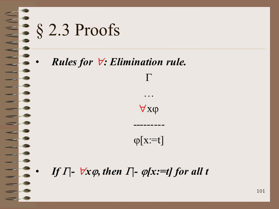 § 2.3 Proofs Rules for : Elimination rule.  … x --------- [x:=t]